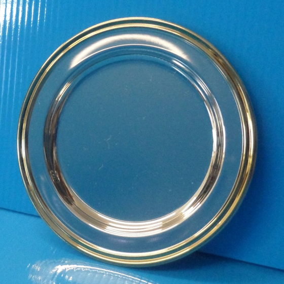 """Picture of Silver salver plain with gold edge 4"""""""